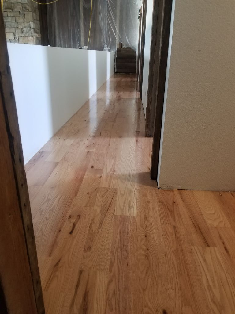 """5"""" #2 Red Oak Sand and Finish wood floor in hunting cabin"""
